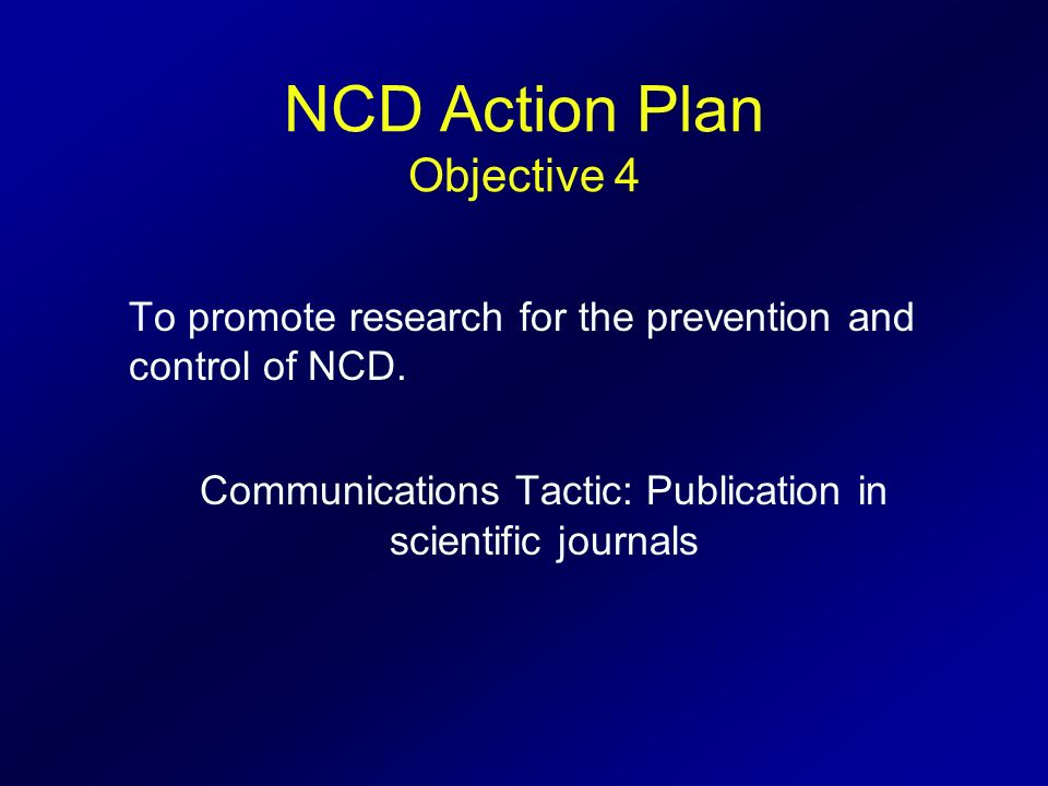 NCD Action Plan Objective 4