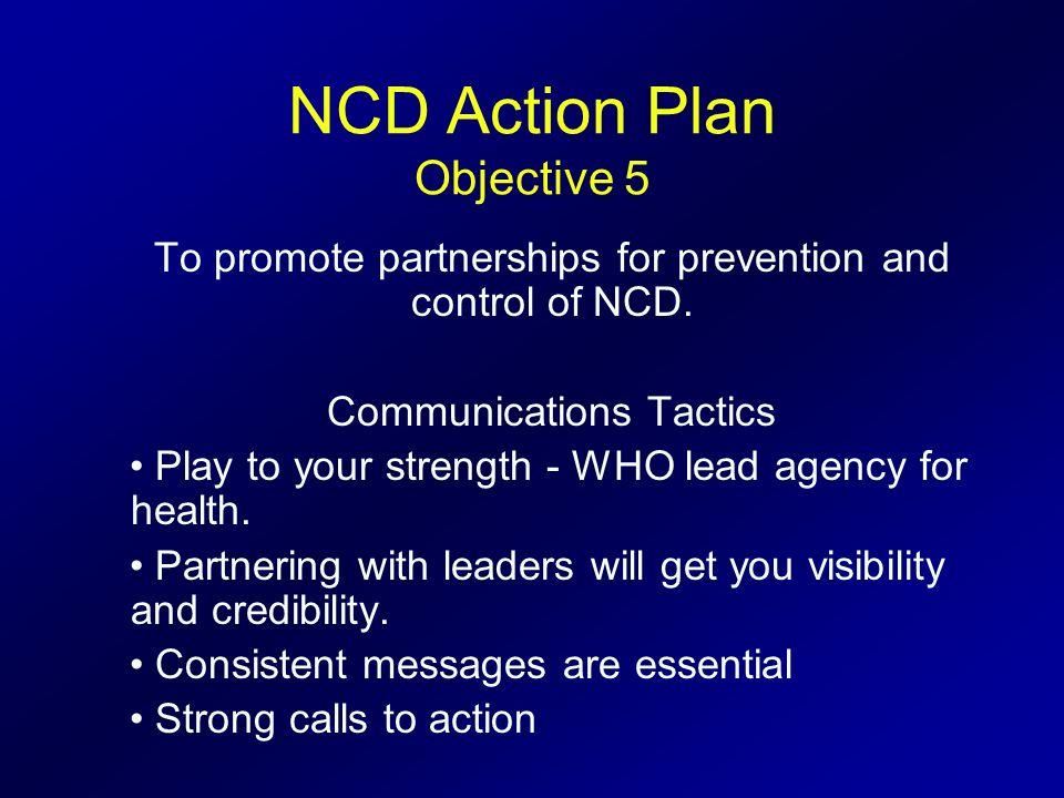 NCD Action Plan Objective 5