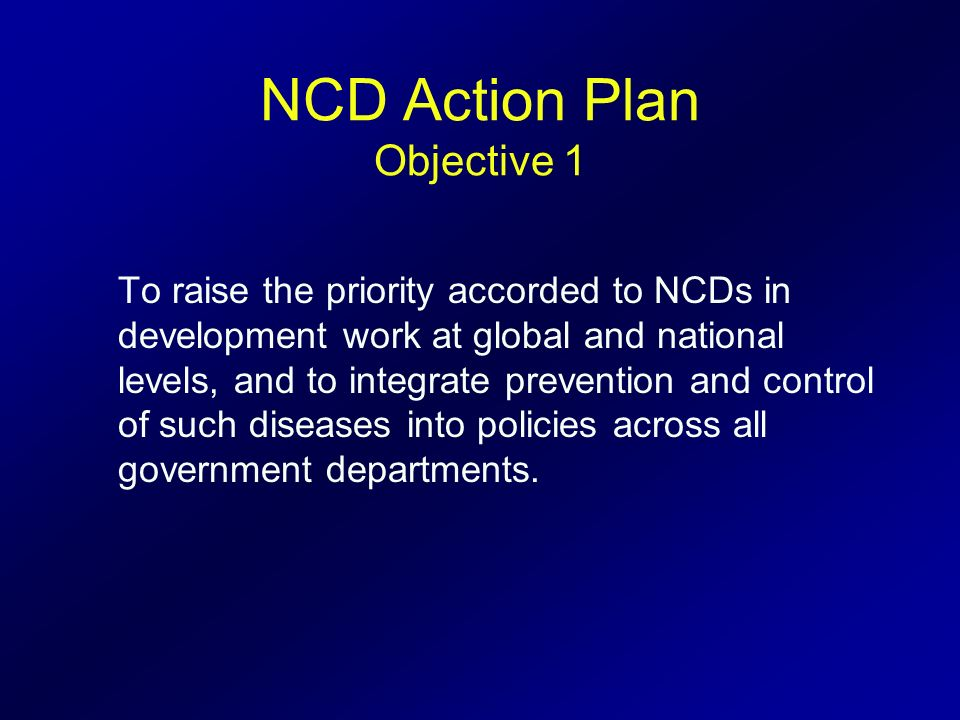 NCD Action Plan Objective 1