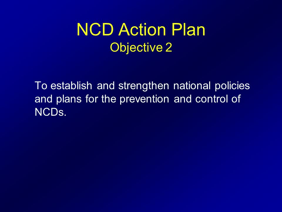 NCD Action Plan Objective 2