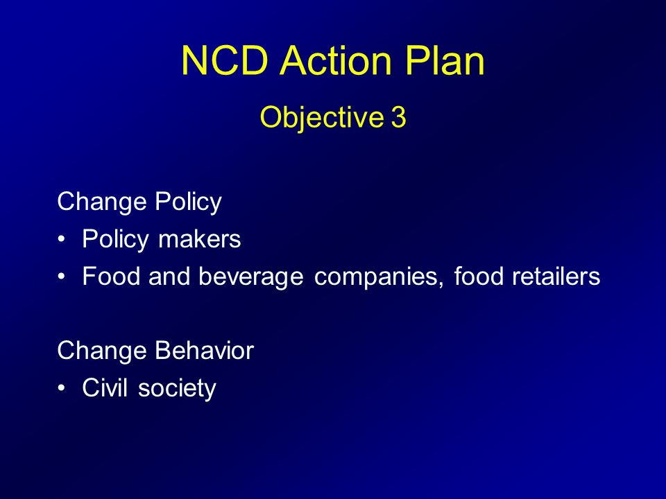 NCD Action Plan Objective 3