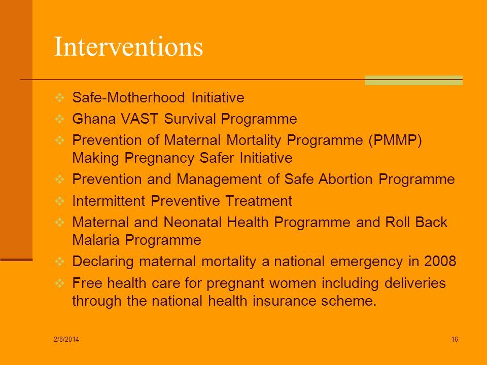 Interventions Safe-Motherhood Initiative Ghana VAST Survival Programme