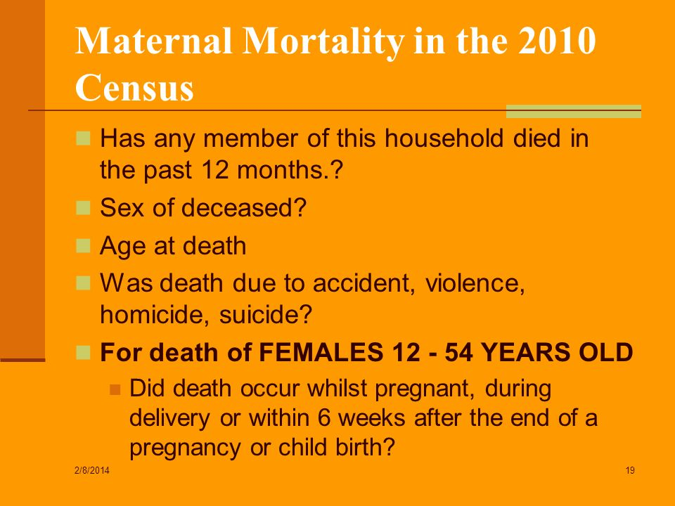 Maternal Mortality in the 2010 Census