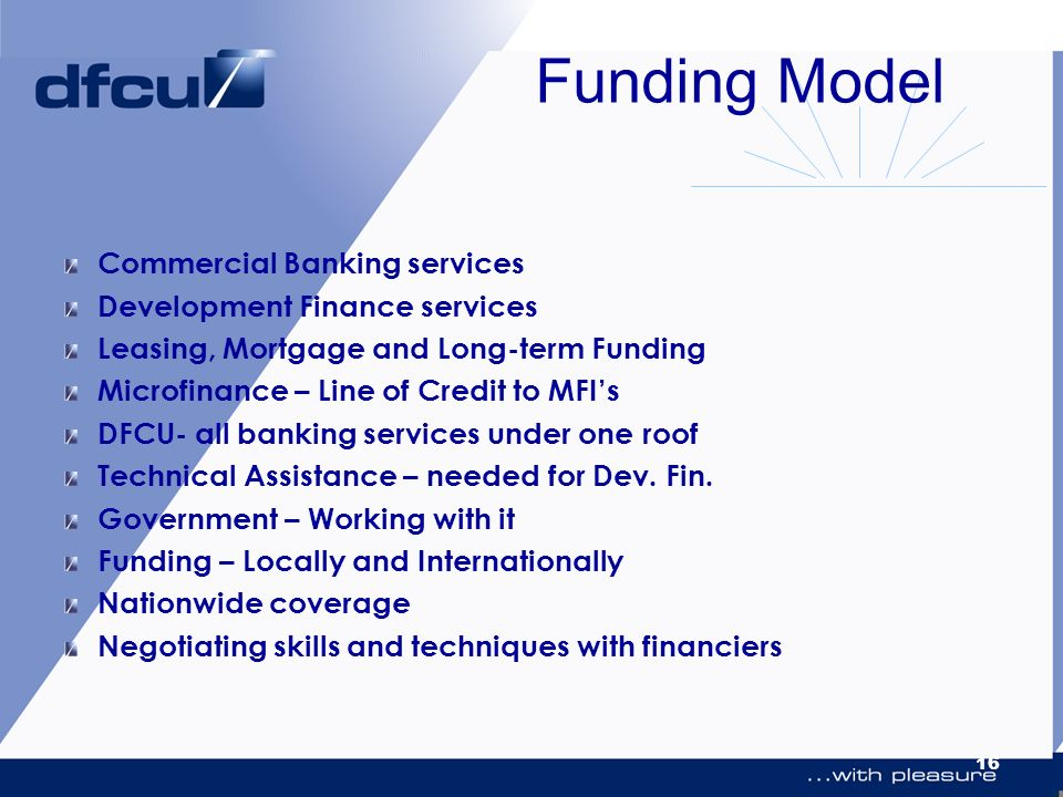 Funding Model Commercial Banking services Development Finance services