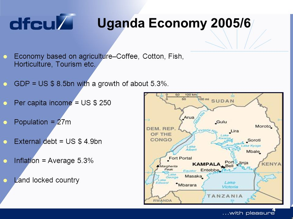 Uganda Economy 2005/6 Economy based on agriculture–Coffee, Cotton, Fish, Horticulture, Tourism etc.