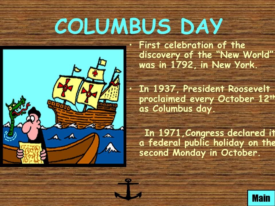 christopher columbus day In recent days, seattle decided on its own to change a federal holiday, columbus day, to indigenous peoples day they assert that recent revelations of christopher columbus' alleged mistreatment of indigenous peoples in the caribbean islands demand his removal and replacement with the recognition.