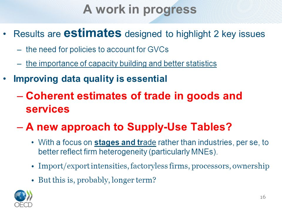 A work in progress Coherent estimates of trade in goods and services