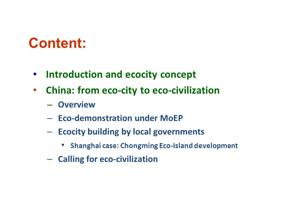 Content: Introduction and ecocity concept