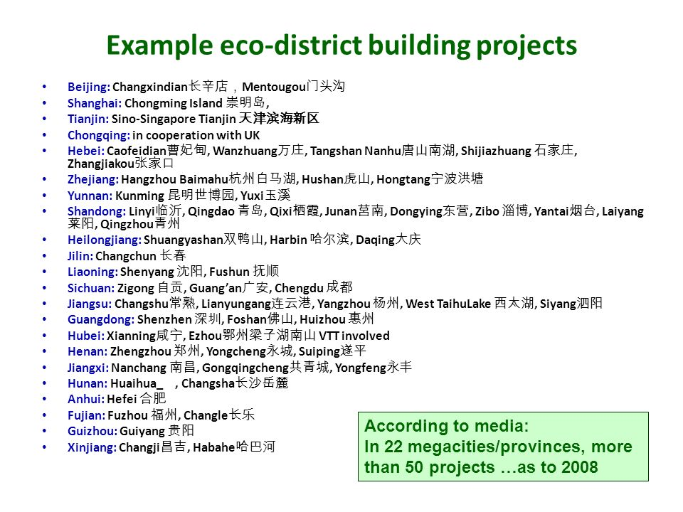 Example eco-district building projects