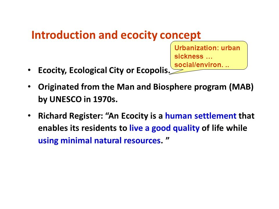 Introduction and ecocity concept