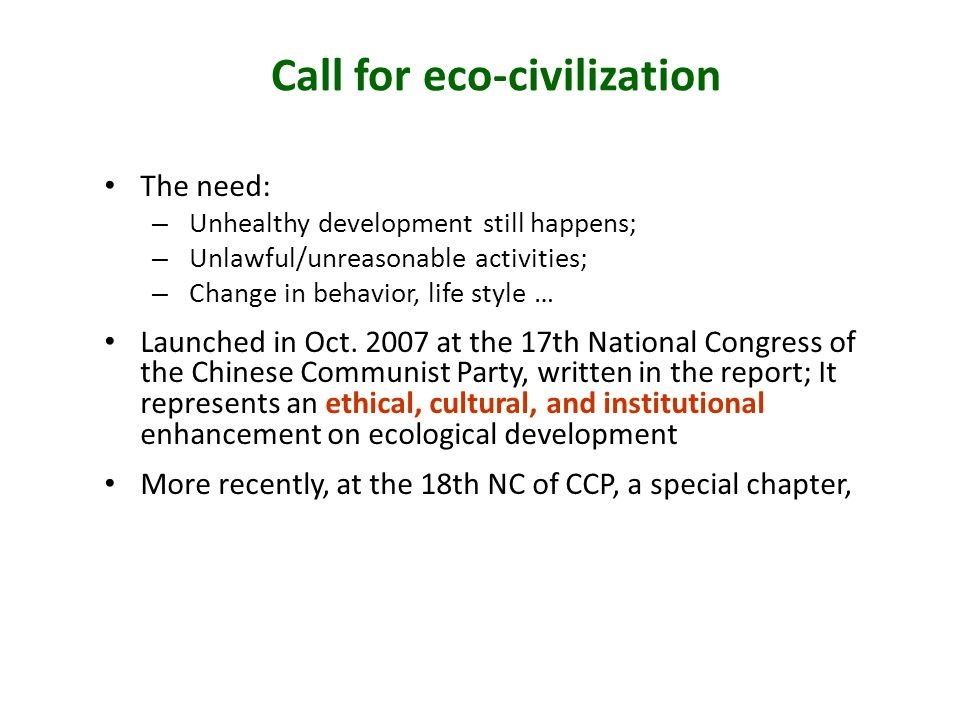 Call for eco-civilization