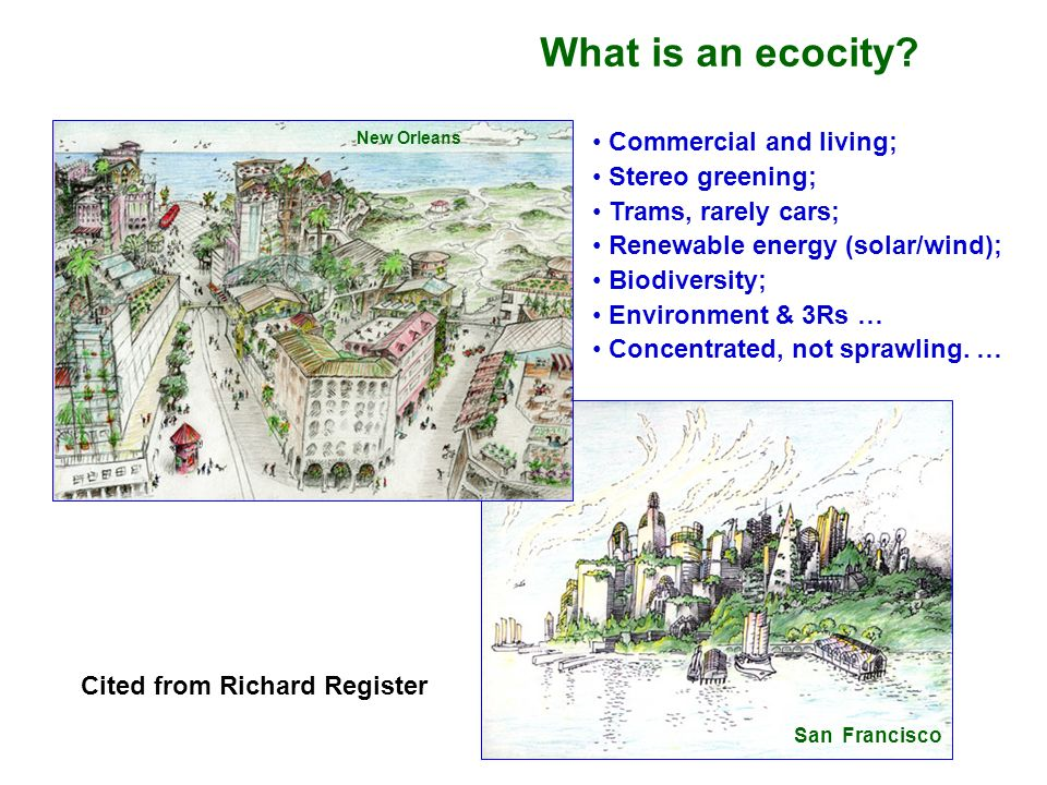 What is an ecocity Commercial and living; Stereo greening;