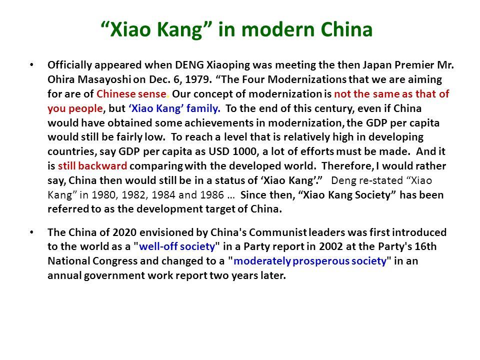 Xiao Kang in modern China