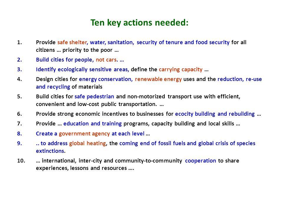 Ten key actions needed: