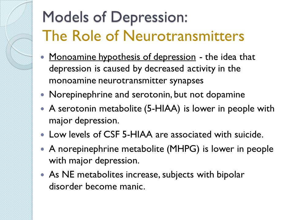 depression and monoamine neurotransmitters They were introduced in the 1950s as the first drugs for depression  besides  neurotransmitters, monoamine oxidase cleans out tyramine,.