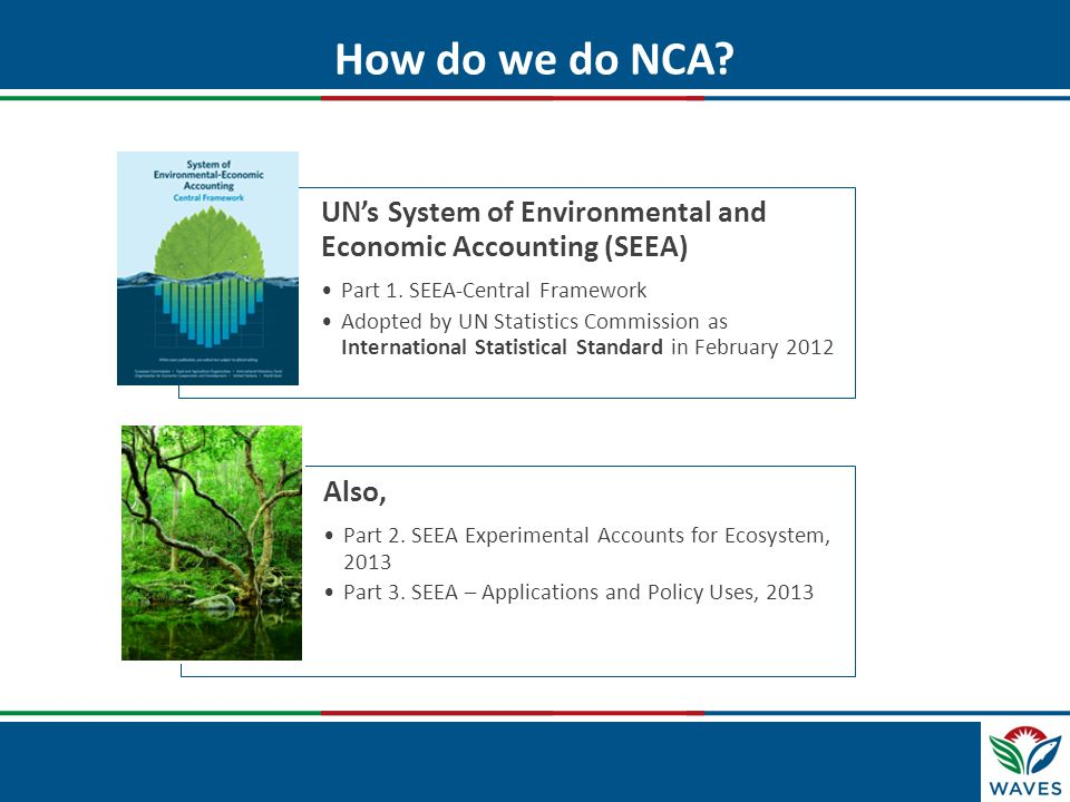 How do we do NCA UN's System of Environmental and Economic Accounting (SEEA) Part 1. SEEA-Central Framework.