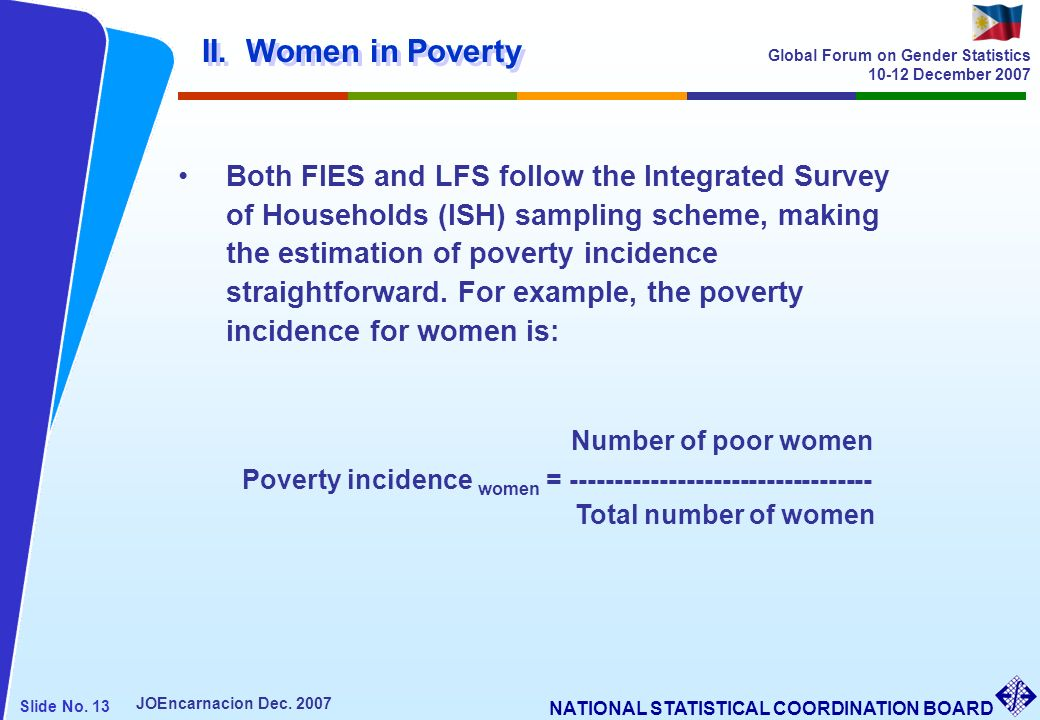 Number of poor women II. Women in Poverty