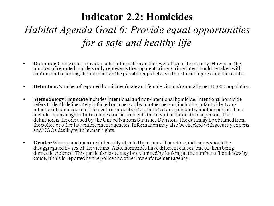 Indicator 2.2: Homicides Habitat Agenda Goal 6: Provide equal opportunities for a safe and healthy life
