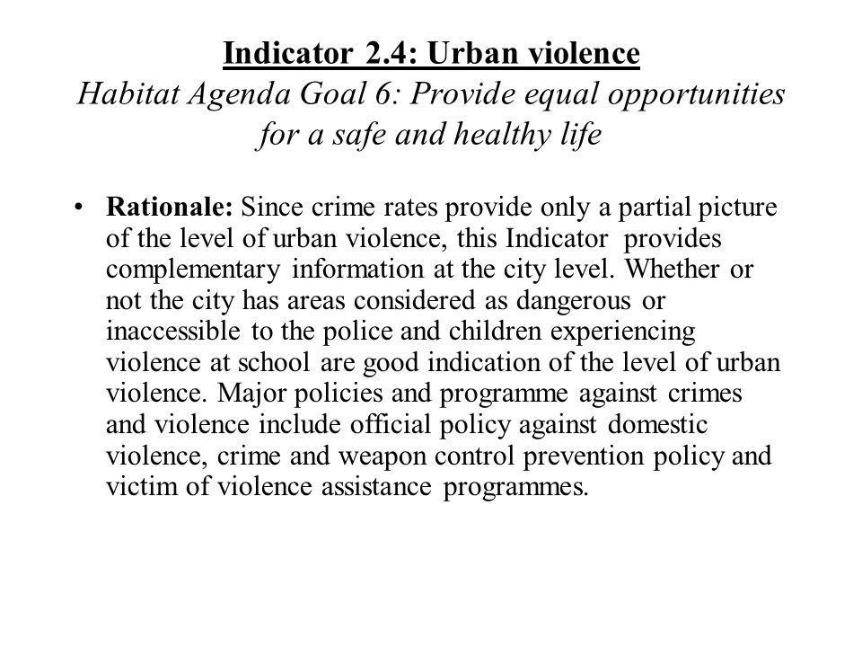 Indicator 2.4: Urban violence Habitat Agenda Goal 6: Provide equal opportunities for a safe and healthy life