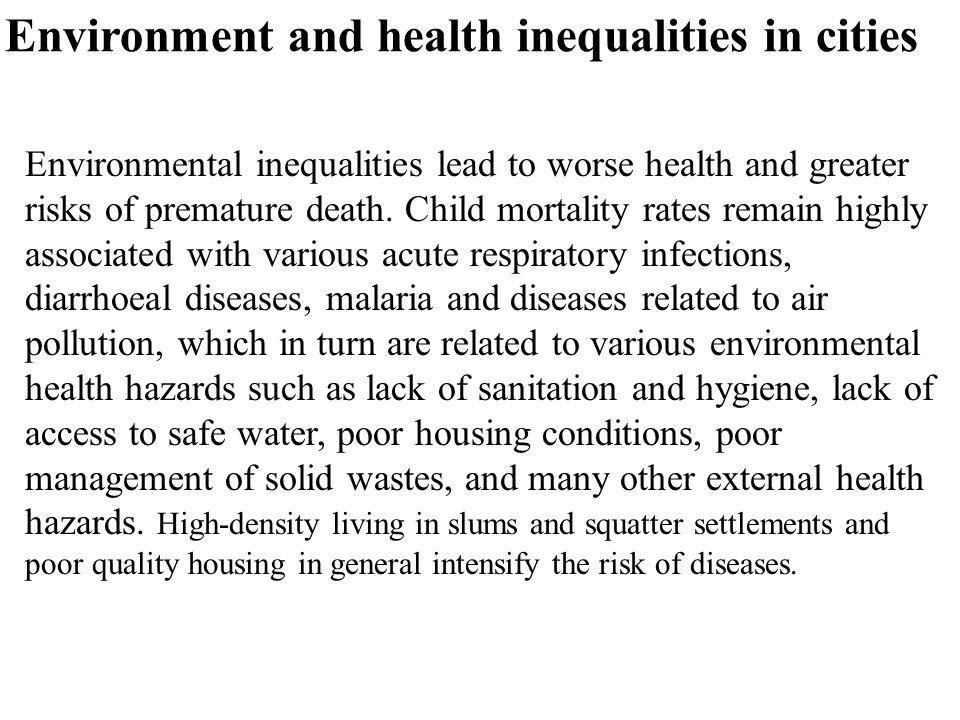Environment and health inequalities in cities