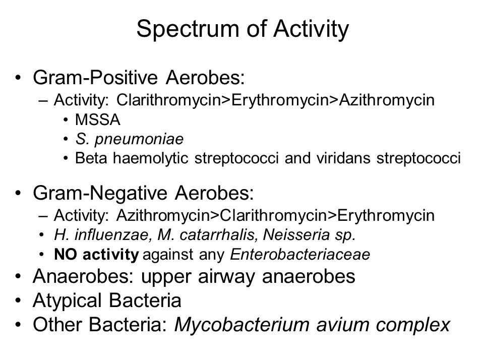 Microbiology spectrum of activity for azithromycin