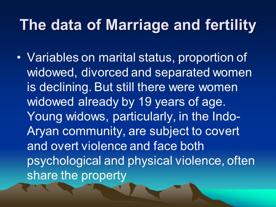 The data of Marriage and fertility
