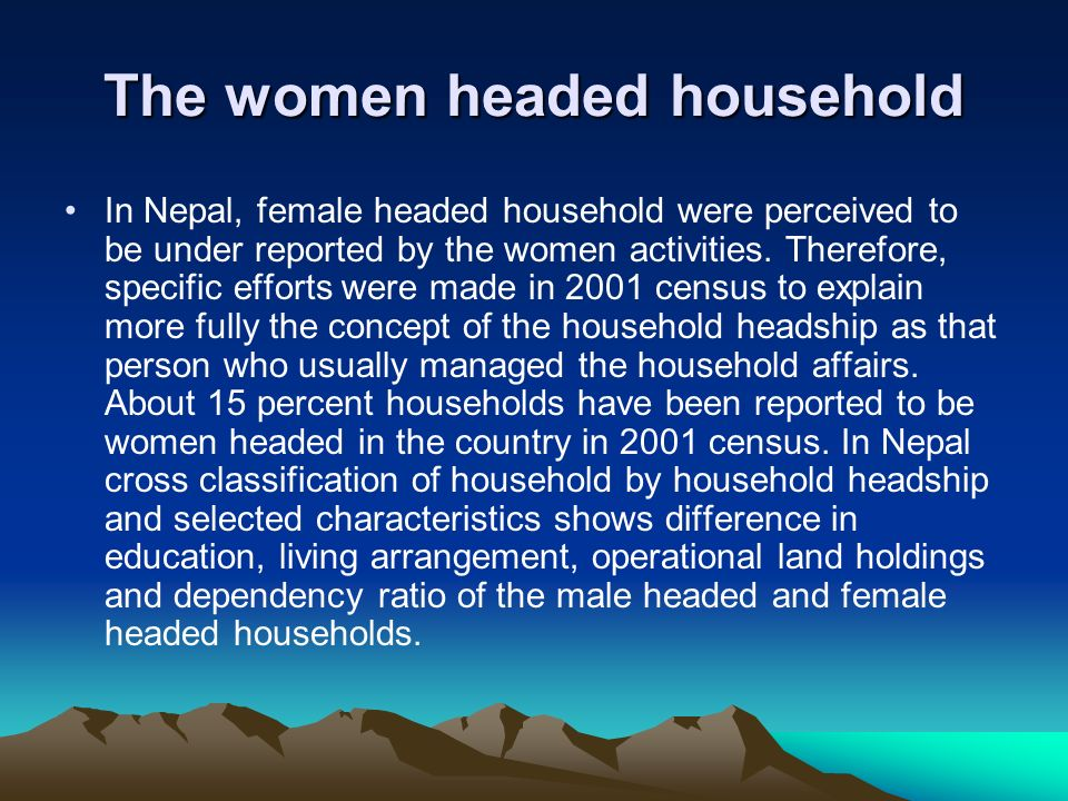 The women headed household