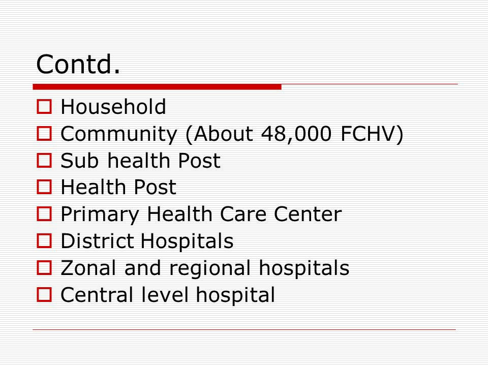 Contd. Household Community (About 48,000 FCHV) Sub health Post