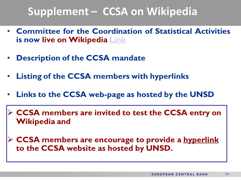 Supplement – CCSA on Wikipedia