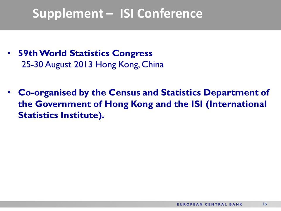 Supplement – ISI Conference