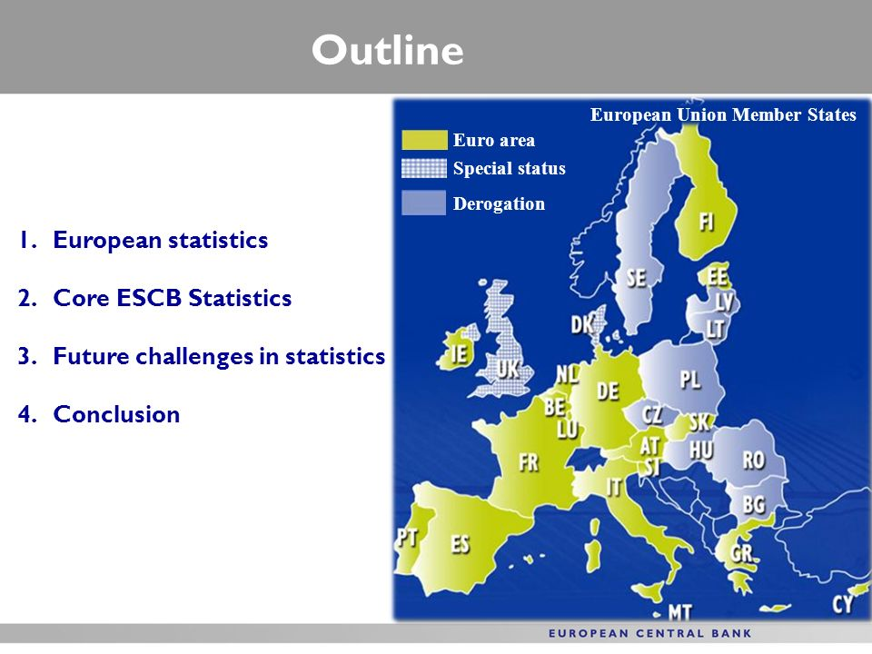 Outline European statistics Core ESCB Statistics