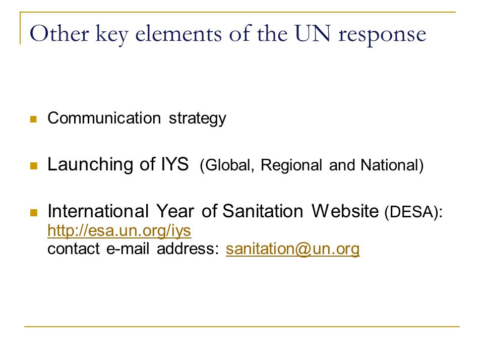 Other key elements of the UN response