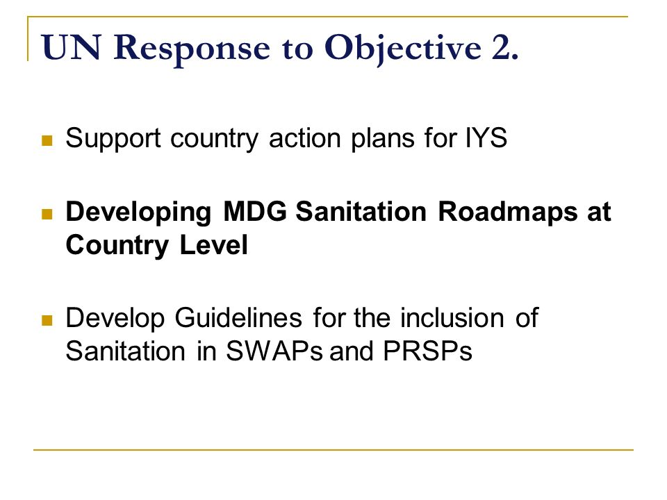 UN Response to Objective 2.