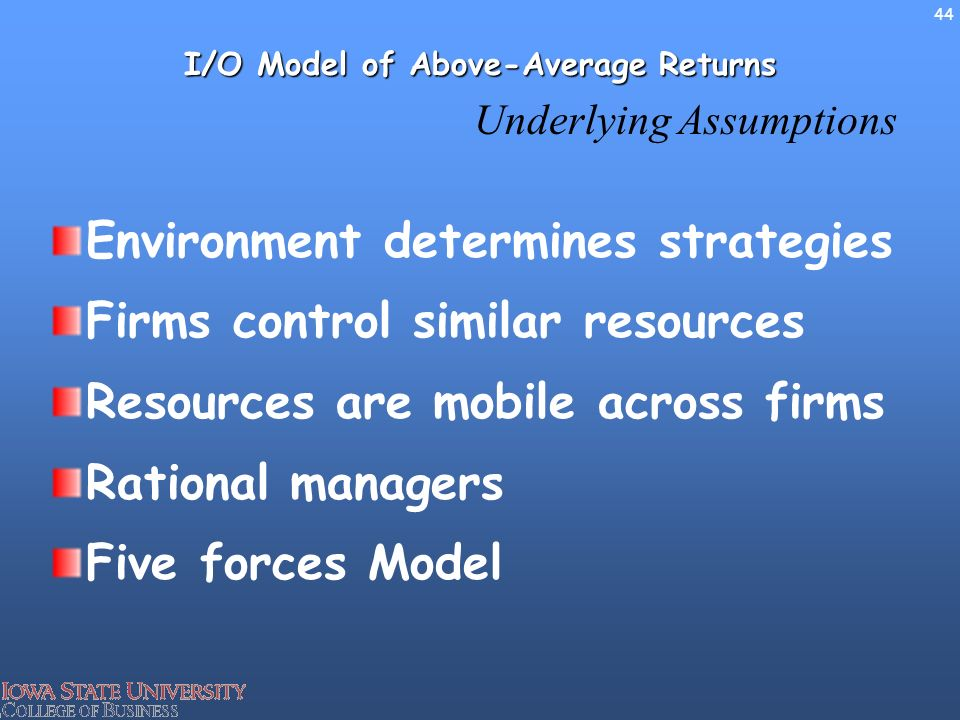 the resource based model of above average returns Average returns 4 use the resource-based model to explain how fi rms can earn above-average returns 555599_01_ch01_p01-31indd 55599_01_ch01_p01-31indd.