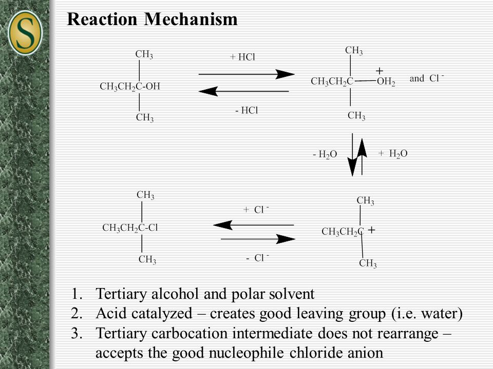 Reaction Mechanism Tertiary alcohol and polar solvent