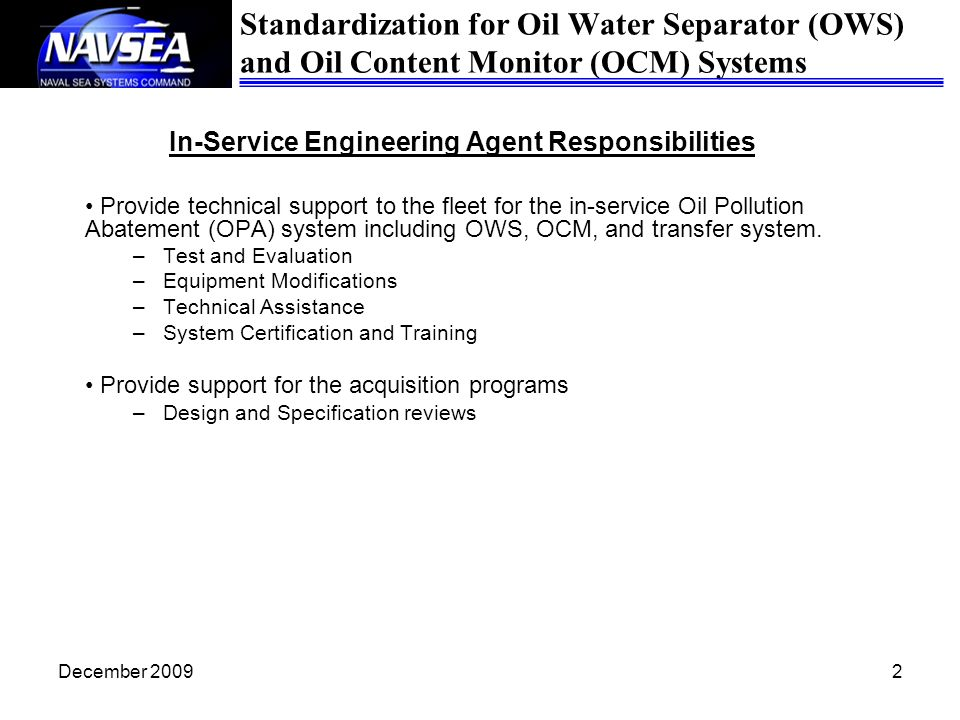 In-Service Engineering Agent Responsibilities