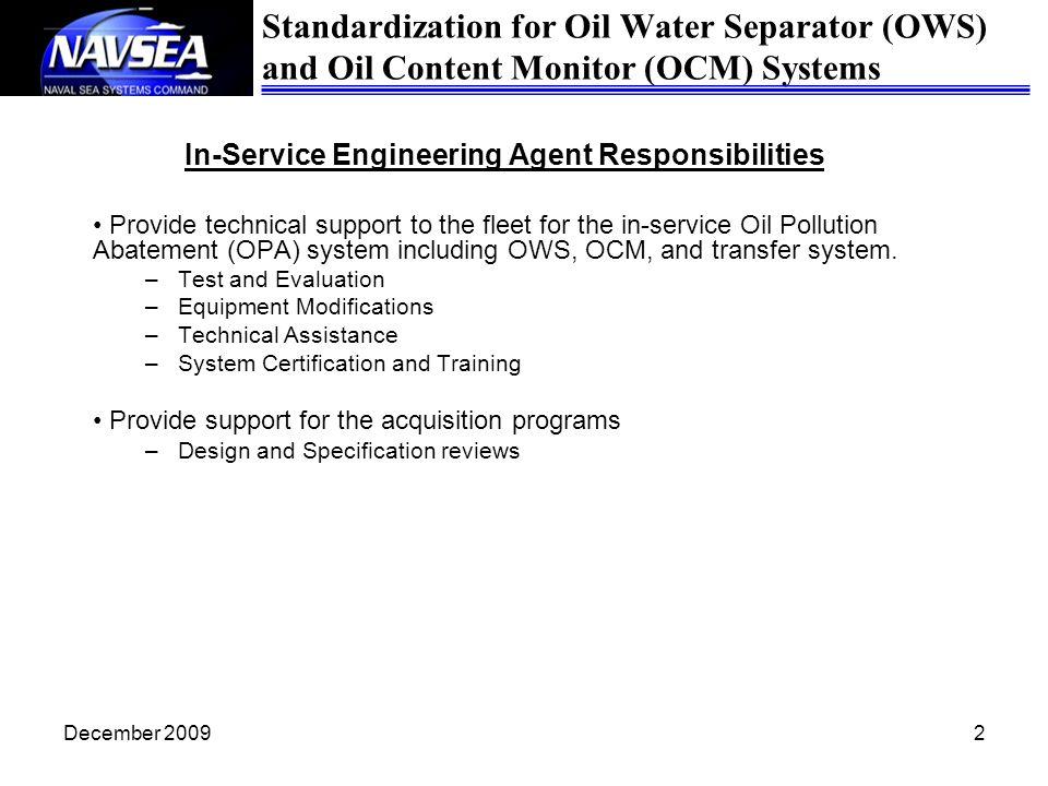 In-Service Engineering Agent Responsibilities