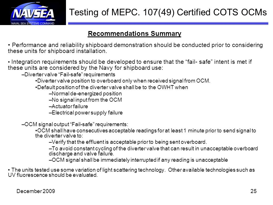 Testing of MEPC. 107(49) Certified COTS OCMs Recommendations Summary