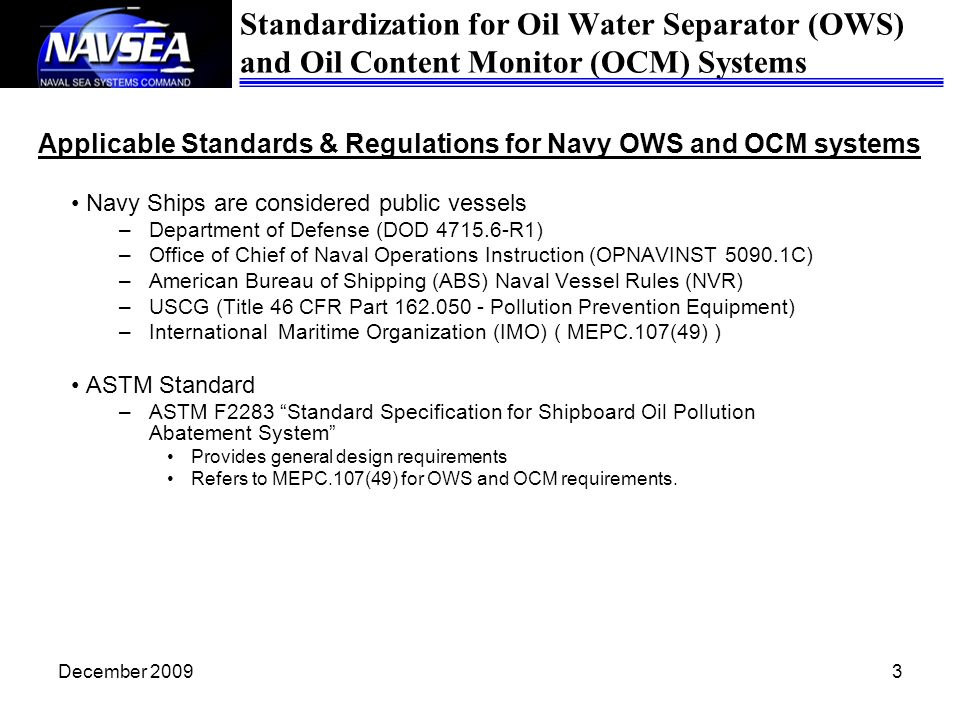 Applicable Standards & Regulations for Navy OWS and OCM systems