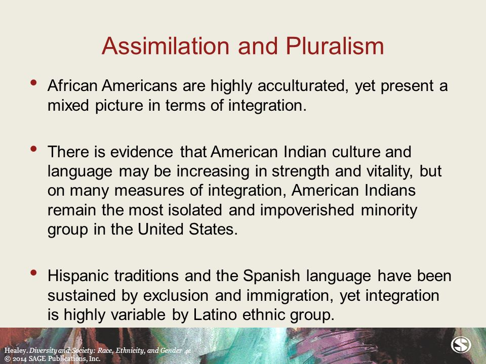 assimilation versus ethnic pluralism What is the process when people of different ethnic groups come together in  china is it pluralism or assimilation, or something else the answer to this.