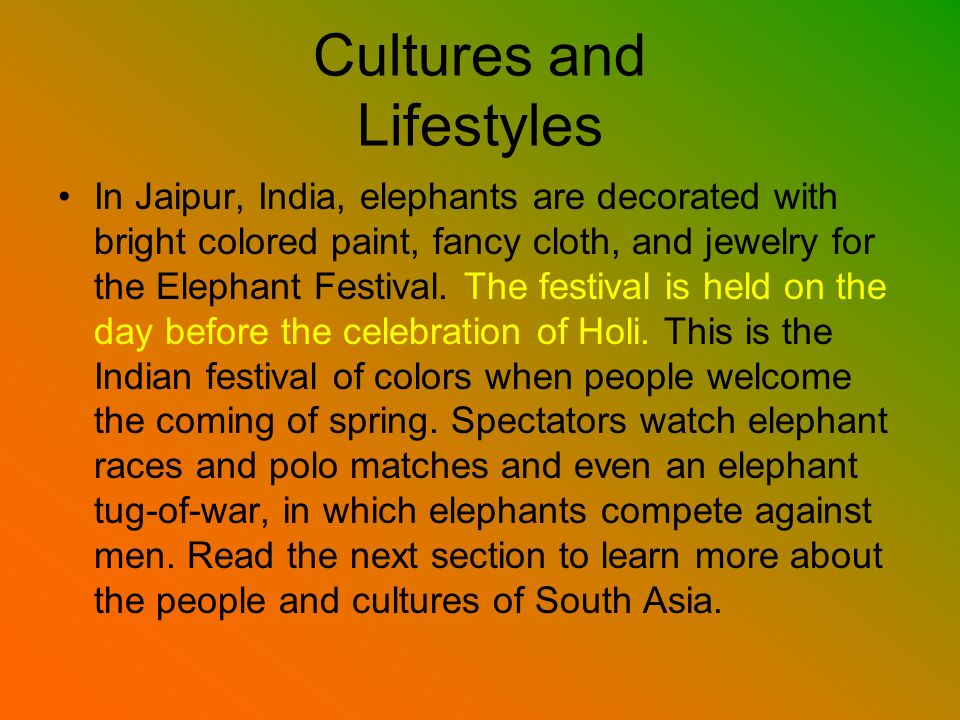 Cultures and Lifestyles