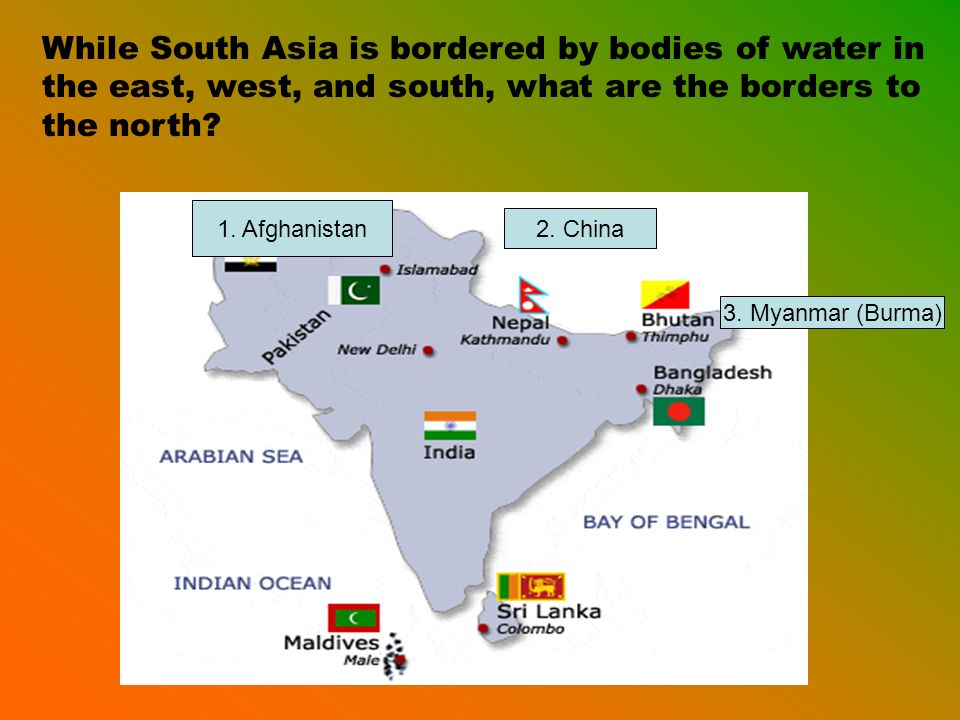 While South Asia is bordered by bodies of water in the east, west, and south, what are the borders to the north