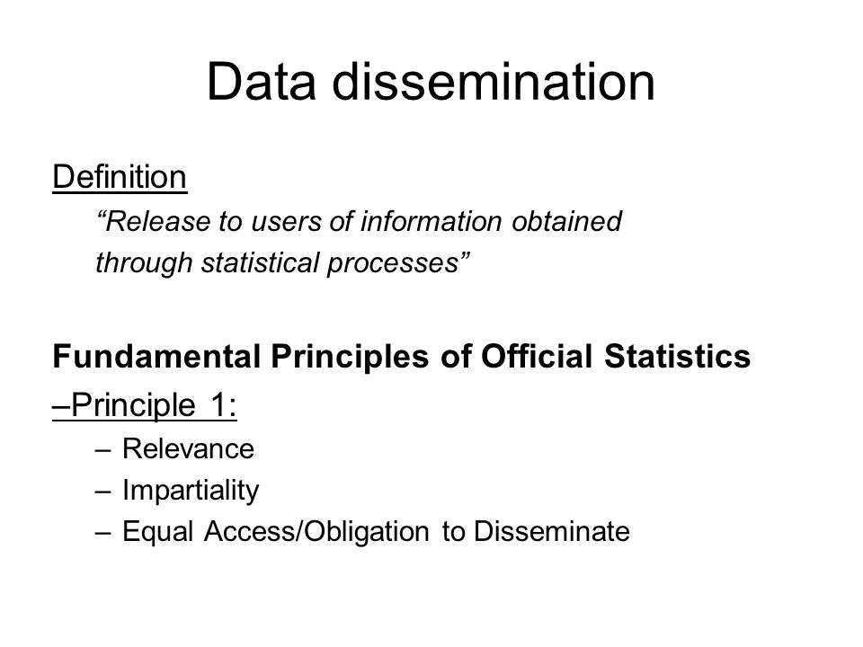 Data dissemination Definition