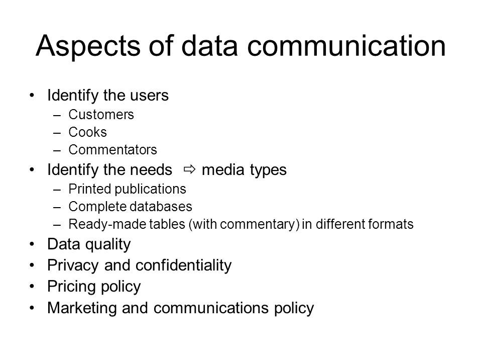 Aspects of data communication