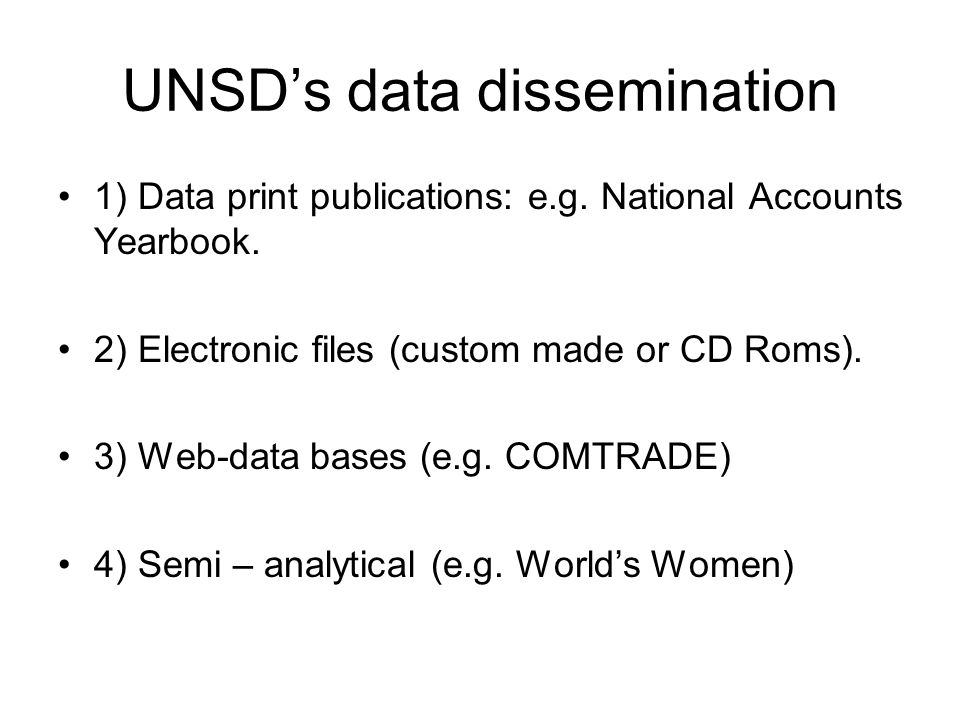 UNSD's data dissemination