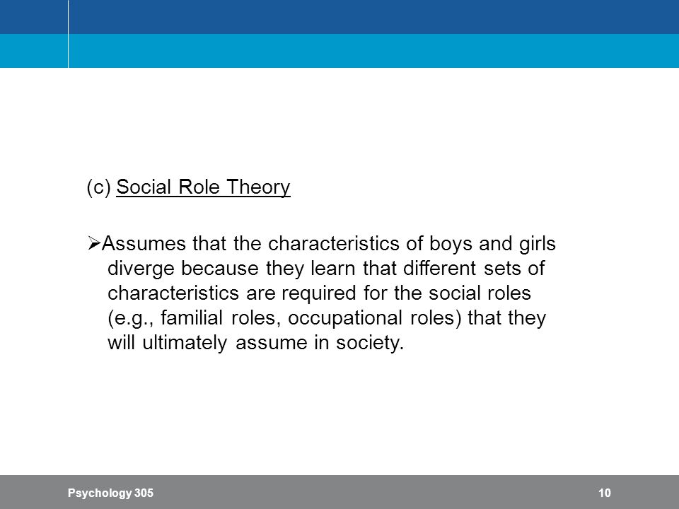social role theory Social role theory as a theory of sex differences and simlarities and of the origins of sex differences in social behavior attitude theory and research, especially attitudinal selectivity in information processing.