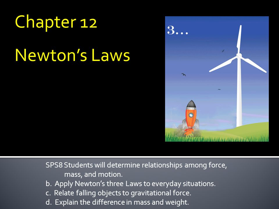 Chapter 12 Newton's Laws. SPS8 Students will determine relationships among force, mass, and motion.