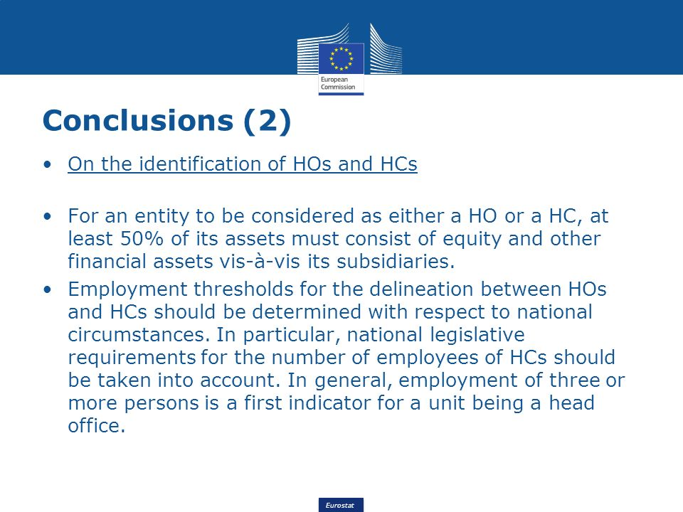 Conclusions (2) On the identification of HOs and HCs