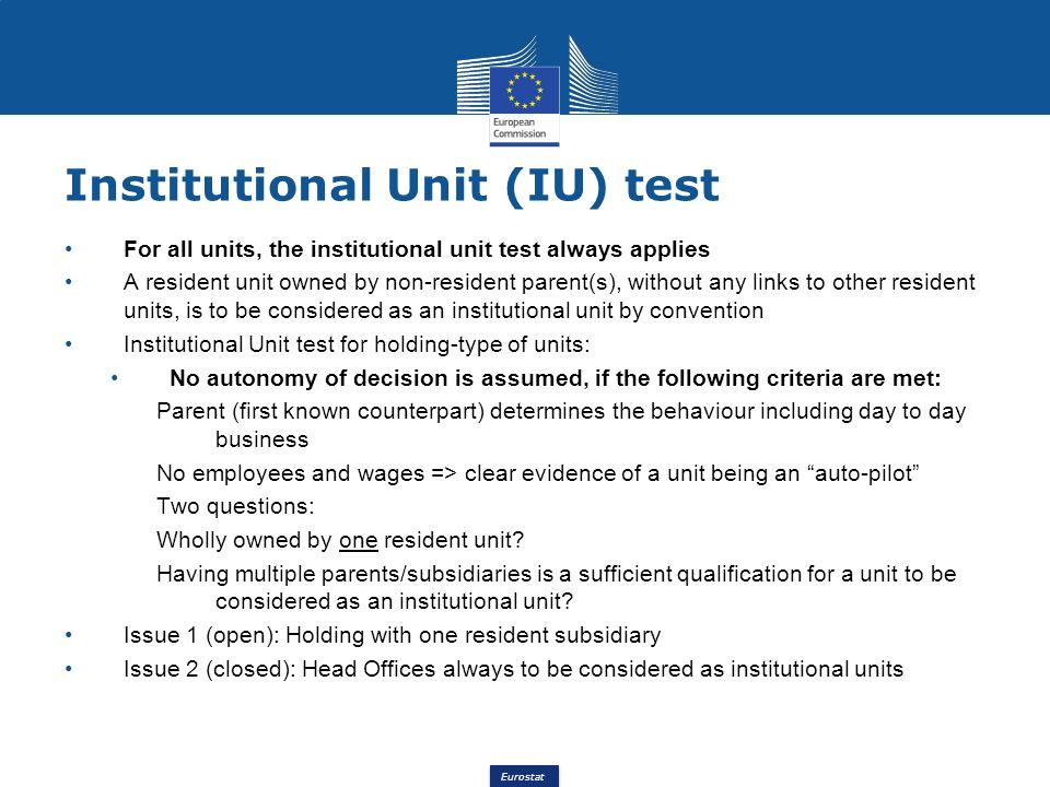 Institutional Unit (IU) test