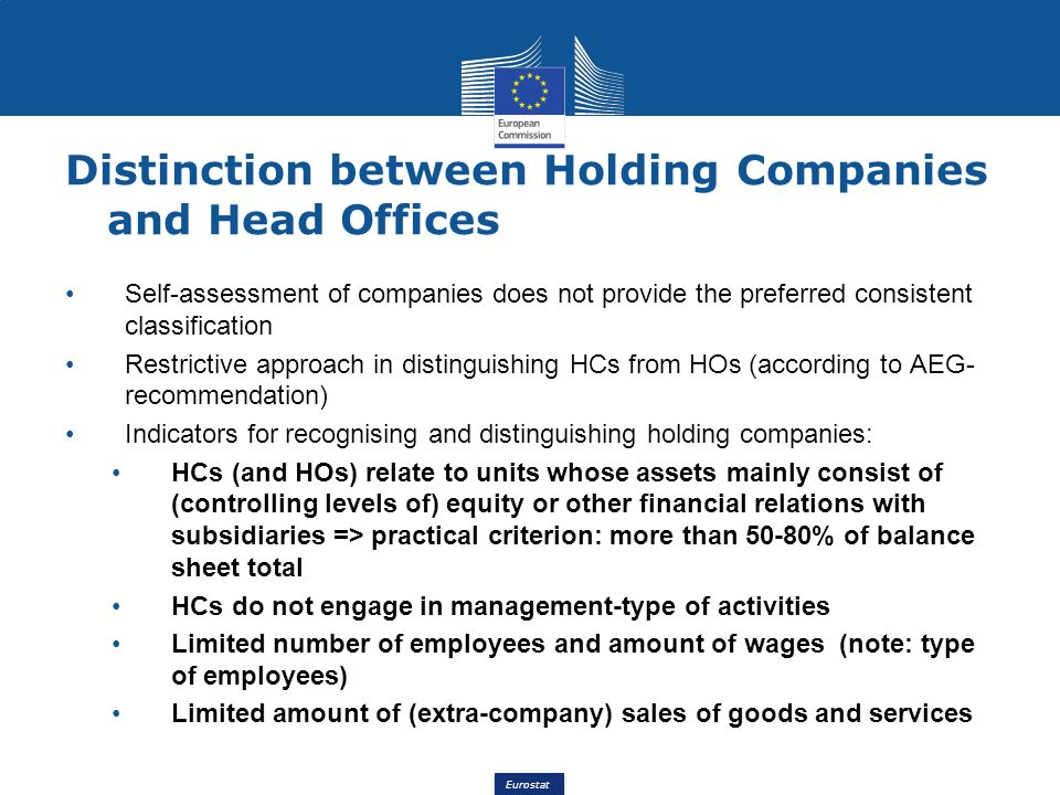 Distinction between Holding Companies and Head Offices